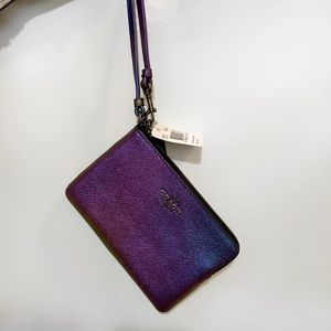 Coach Iridescent/Holographic Leather Wristlet